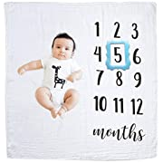 GIFTiz Baby Milestone Blanket Photo Prop Set for Boys & Girls, 100% Organic Hypoallergenic Muslin Cotton, Large - Blue Frame