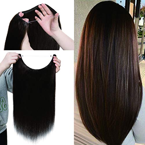 Human Hair Flip on Invisible Wire Hair Extensions No Clips in Hidden Wire Secret Hairpieces with Miracle Transparent Fish Line For Women #02 Dark Brown 16 inches 90g ()