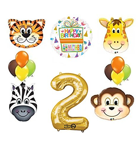 Mayflower Products Jungle Animal Safari Second 2nd Birthday Party Supplies and Balloon -