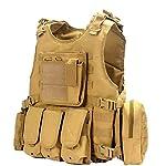 EbonHawk Gilet Tactique Réglable Airsoft Gilet Militaire de Combat pour Sports Gilet Tactique Léger - Kaki 6