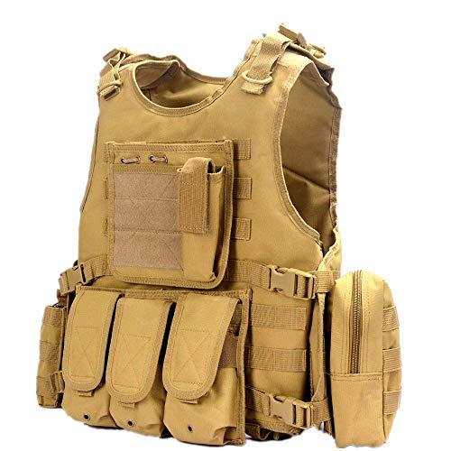 EbonHawk Gilet Tactique Réglable Airsoft Gilet Militaire de Combat pour Sports Gilet Tactique Léger - Kaki 2