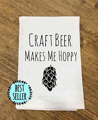 Funny Dishcloth/ Tea Towel ~ Craft Beer Makes Me Hoppy ~ Funny Kitchen Cloth, Pun