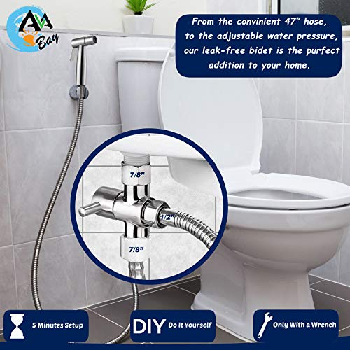 AVAbay Bidet Sprayer for Toilet-Cloth Diaper Sprayer-Baby Hand Held Shower Spray Attachment-Premium Water Handheld Shattaf Sprayer-High Pressure-Leak Proof-Stainless Steel Bedit Cleaner