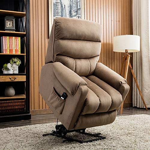 CANMOV Electric Power Lift Recliner Chair Comfortable Antiskid Fabric for Elderly with Remote Control, Heavy Duty Reclining Mechanism Living Room Sofa Chair, Light Brown