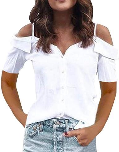 VEMOW Camisas de Mujer Tops Verano Hombro frío Camisa de Manga Corta Blusa Informal Tops Blusa: Amazon.es: Ropa y accesorios