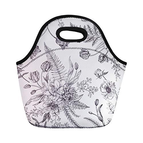 (Semtomn Neoprene Lunch Tote Bag Floral Pattern Bouquets of Spring Flowers Black and White Reusable Cooler Bags Insulated Thermal Picnic Handbag for Travel,School,Outdoors,Work)