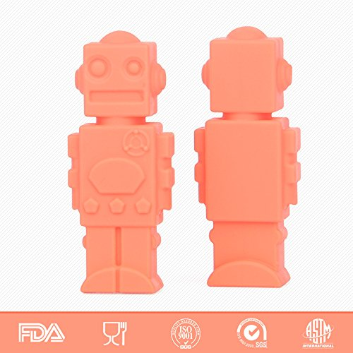 Silicone Chewable Pencil Toppers 6 Pack, Safe Robot Shaped,Perfect for Baby Teething, Children Study with Pencil,Therapy Toys,Chewy Tubes, Fidgets, Oral Motor Chew