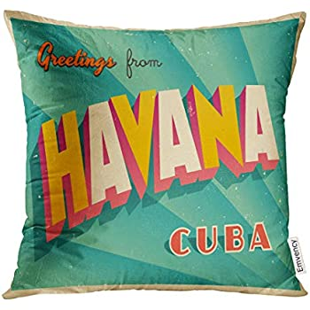 VANMI Throw Pillow Cover Vintage Touristic Havana Cuba Grunge Effects Can Be Easily Removed Clean Sign Decorative Pillow Case Home Decor Square 16x16 Inches Pillowcase