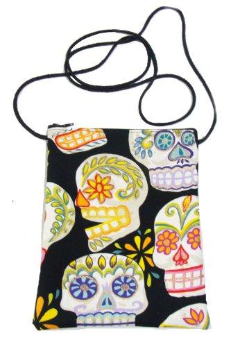 US Handmade Fashion Passport Cover Bag SUGAR SKULLS TATTOO Day of the Dead Skulls Rockabilly Halloween Gothic Pattern Shoulder Bag Us Handmade Handbag Purse Alexander Henry Cotton Fabric, PT 1008]()