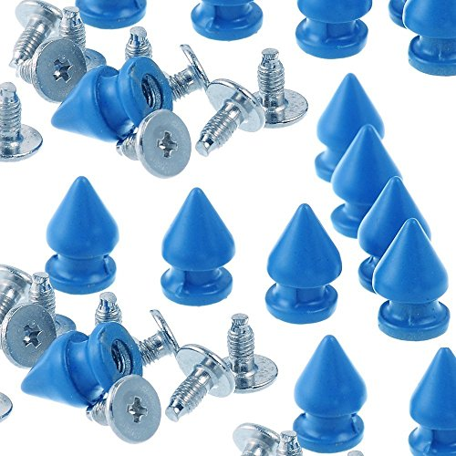 (RUBYCA 12MM 100 Sets Metal Tree Spikes and Studs Metallic Screw-Back for DIY Punk Leather-craft Royal)