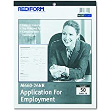 Rediform M66026NR Employment Application, 8 1/2 x 11, 50 Forms