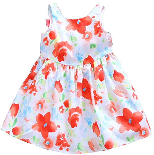 (Girls Dress Sleeveless 100% Cotton Waterfloral Print Todder Clothes Party Little Girl Casual Sun Dresses Size 6)