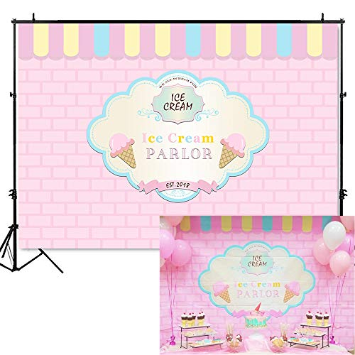 Mehofoto Ice Cream Parlor Shop Backdrop Pink Blue Ice Cream Themed Birthday Photography Background 7x5ft Vinyl Ice Cream 1st Birthday Party Banner ()