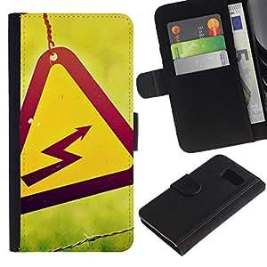 All Phone Most Case / Oferta Especial Cáscara Funda de cuero Monedero Cubierta de proteccion Caso / Wallet Case for Samsung Galaxy S6 // Hazard Shock Sign