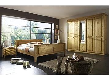 Schlafzimmer komplett Meran (4er Set) Kiefer massiv gelaugt 180 x ...
