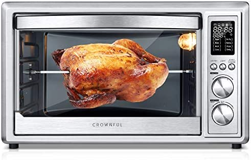 CROWNFUL Air Fryer Toaster Oven, 32 Quart Convection Roaster with Rotisserie & Dehydrator Combo Cooker, Accessories and Recipe Included, ETL Listed (Stainless Steel)