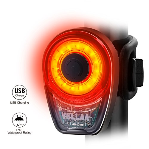 VELLAA Rear Bike Lights USB Rechargeable – Bike Tail Light Powerful 6...
