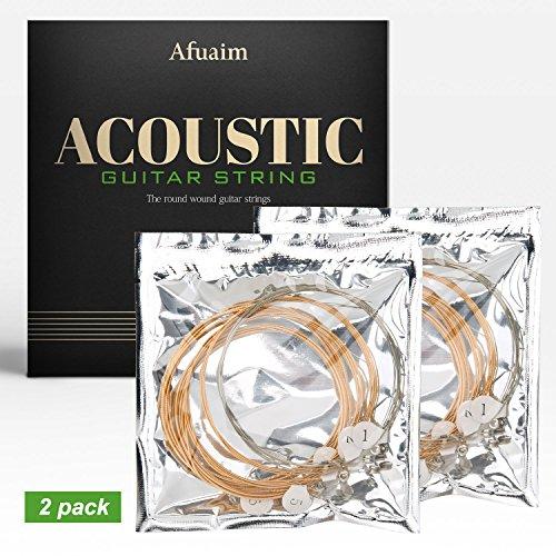 Bass Strings Coated Phosphor Bronze - Afuaim Acoustic Guitar Strings AA1048 Phosphor Bronze Strings Set, Extra Light.010-.048 (2 Packs)