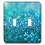 3dRose lsp_272843_2 Sparkling Teal Blue Luxury Shine Girly Elegant Mermaid Glitter Toggle Switch, Mixed