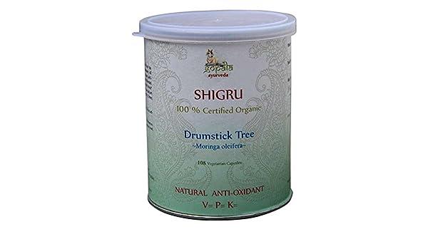 Shigru (Moringa oleifera) Certificadico LACON GmbH en Europa, Suplemento 100% natural ecológico, Antioxidante Natural, 108 cápsulas (500 mg): Amazon.es: ...