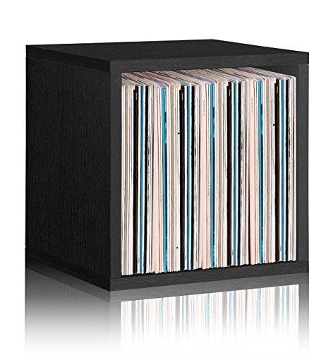 Way Basics Extra Large Stackable LP Album Shelf Vinyl Record Storage Cube, Black