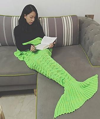 Coroler Lovely Mermaid Tail Crochet Blanket All Seasons Soft Sleeping Bags