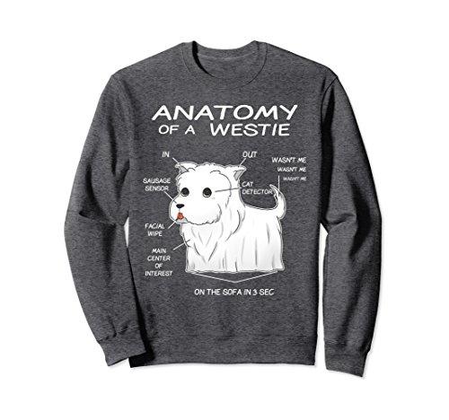 (Unisex Anatomy Of A Westie White Terrier Highland Dog Sweatshirt XL: Dark Heather)