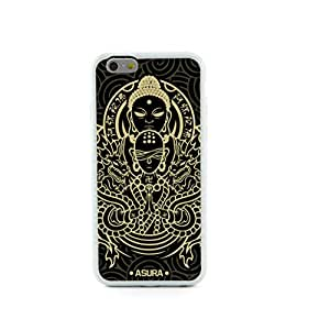 JMM - Buddha Asura Style Design White Bumper Hybrid Plastic + TPU/Silicone Rubber Cell Mobile Phone Cases Skin Cover/Accessories for Apple iPhone 6 6th 6Generation 4.7