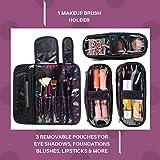 Premium Travel Makeup Bag with Makeup Brush Holder