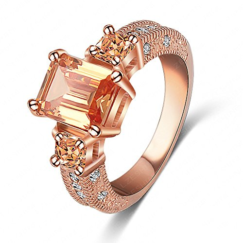 LuckyWeng New Exquisite Fashion Jewelry Rose Gold Austrian Crystal Champagne Diamond Zircon Ring