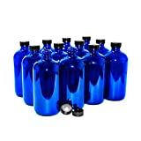 (12 Pack) 16 oz. Cobalt Blue Boston Round with Black Poly Cone Cap (28/400)