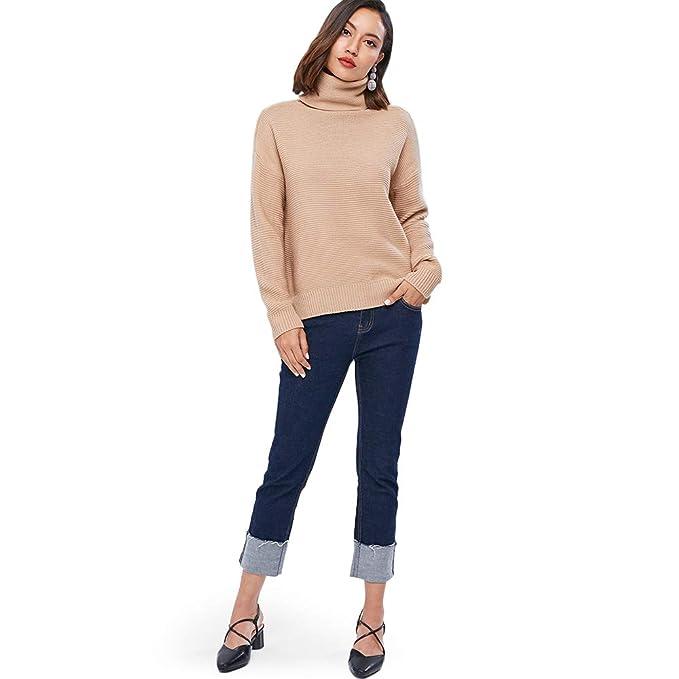 Suéter de Cuello Alto para Mujer Jersey de Punto Jerséis Casual para Otoño  Invierno Suelto Pullover Clásico Sweater de Manga Larga  Amazon.es  Ropa y  ... 7dc09b397400