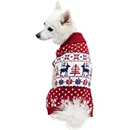 """Blueberry Pet 6 Patterns Vintage Ugly Christmas Reindeer Holiday Festive Pullover Dog Sweater in Tango Red & Navy Blue, Back Length 20"""", Pack of 1 Clothes for Dogs"""
