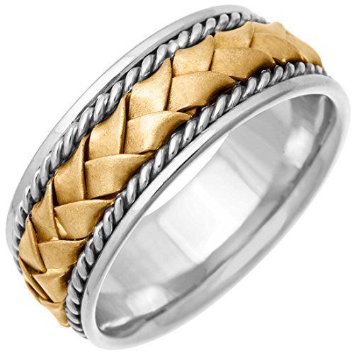 Two Tone Platinum and 18K Yellow Gold Braided Basket Weave Men's Wedding Band (8.5mm) Size-14.5c2
