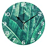 ALAZA Tropical Banana Leaf Round Acrylic Wall Clock, Silent Non Ticking Oil Painting Home Office School Decorative Clock Art For Sale