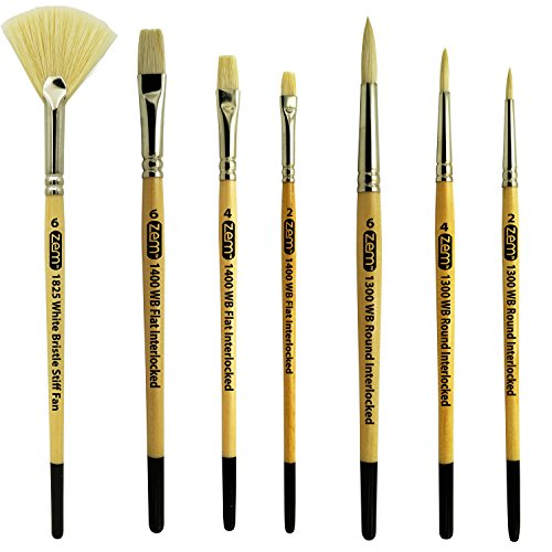 ZEM BRUSH Interlocked White Hog Bristle Artist Brush Set Rounds 2,4,6 and Flats 2,4,6 and Stiff Fan -