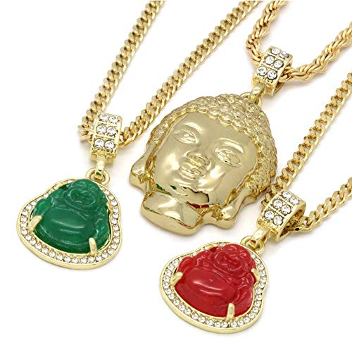 L & L Nation 6 pcs Bundle Set 14k Gold Plated Hip Hop Fully Cz Iced Out Buddha Chain Pendants Set ()