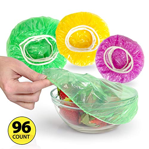 Besti Set of 96 Colorful Elastic Food Storage Covers | Reusable Fitted Bowl Covers Great Substitute for Foil and Plastic Wrap | Translucent Stretchy Plate Cover Delivers Ultimate Convenience