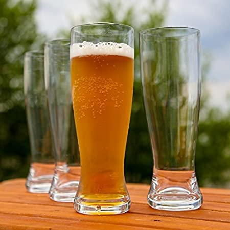18 Ounces Reusable Set of 4 Lilys Home Unbreakable Classic Beer Pilsner Glasses Made of Shatterproof Tritan Plastic and Ideal for Indoor and Outdoor Use