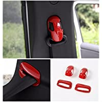 FMtoppeak Red ABS Interior Accessories Kits Styling Seats Safety Belt Cover Trim For Jeep Renegade 2014 UP