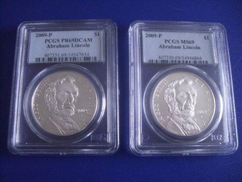 2009 P Abraham Lincoln Silver Commemorative PR69 DCAM and Unc MS69 PCGS