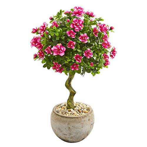 Nearly Natural 9298 3-Ft. Azalea Artificial Topiary Bowl Planter Silk Trees Pink