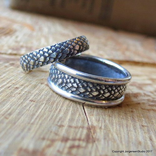 St George Ring - Dragonscale Wedding Bands in Sterling Silver Handmade