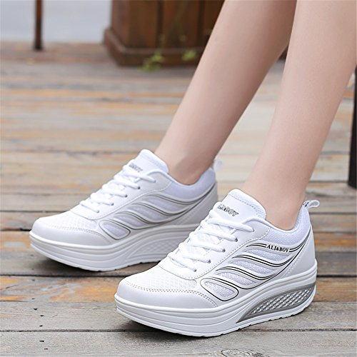 Athletic da Autunno Casual rotonda Scarpe Outdoor Scarpe Office C donna Tulle Primavera Creepers Punta SHINIK up Zeppe Creepers per Sneakers Lace Estate Heel da trekking amp; 5Rqwc