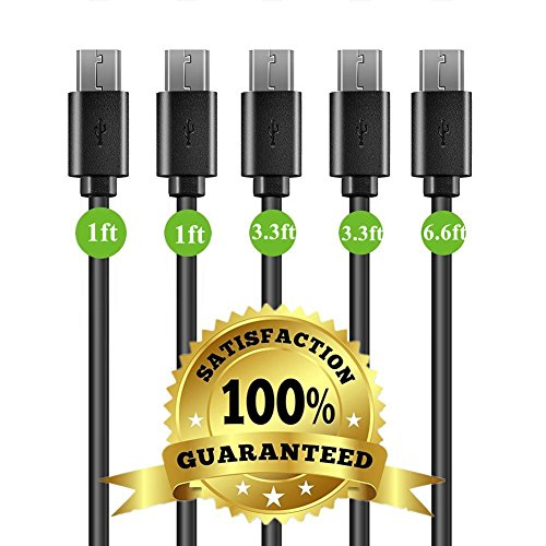 Micro USB Cable Android, THUSTAR Family 5-Pack (1ft, 3ft, 6ft) USB to Micro USB Cables High Speed USB2.0 Sync and Charging Cables for Samsung, HTC, Motorola, Nokia, Kindle, MP3, Tablet and more (6' Mp3)