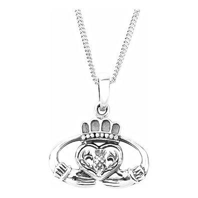 6136c17d5959 Celtic Claddagh Love Loyality y amistad collar colgante de plata de ley con  flor de Escocia