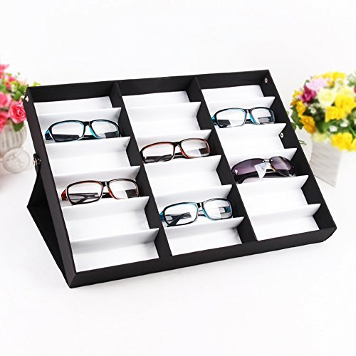 Fashine 18 Piece Sunglass Eyewear Eye Wear Display Tray Case Stand. Also great for Watches and Jewelry, Black (US - Stock Sunglasses