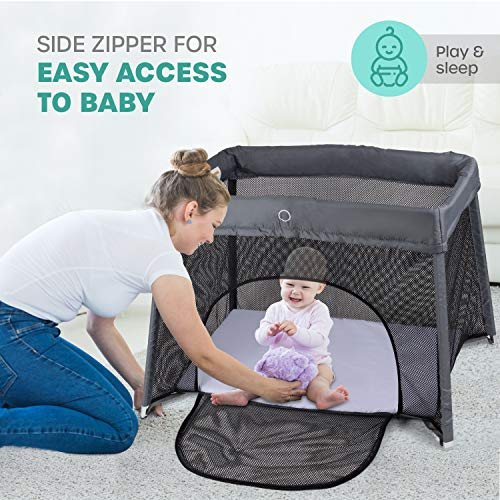 51g2tfQp4SL - 2 In 1 Travel Crib & Bassinet – Lightweight, Pack Play-Yard For Infants & Toddlers. Simple Assembly & Easily Collapsible. Portable Crib, Baby Bed. Mattress & Fitted Sheet Included