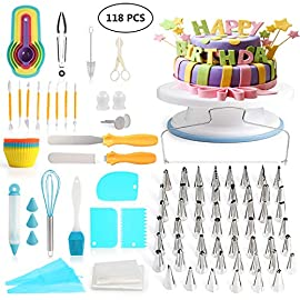 118 pcs Cake Decorating Supplies Kit Cake Baking Tools Cupcake Icing Tools Pastry Tools Cake Spinner Stand Cake Turntable 55 Cake Decorating Stainless Steel Tips for Kid Teen Beginner Birthday Party 75 REVOLVING CAKE TURNTABLE : Turns smoothly in clockwise or anticlockwise direction, allow you easily creating beautiful borders when decorate cakes. SAFETY MATERIAL : Cake piping set is made from high quality materials, quality stainless steel and durable plastic for fun & easy cake decorating. NO EXPERIENCE REQUIRED : With the accompanying guides and e-books, anyone can use these high-quality baking tools to make professional-looking cakes! This cake decor will help you make delicious cakes for your occasion at home.