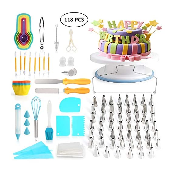 118 pcs Cake Decorating Supplies Kit Cake Baking Tools Cupcake Icing Tools Pastry Tools Cake Spinner Stand Cake Turntable 55 Cake Decorating Stainless Steel Tips for Kid Teen Beginner Birthday Party 1 REVOLVING CAKE TURNTABLE : Turns smoothly in clockwise or anticlockwise direction, allow you easily creating beautiful borders when decorate cakes. SAFETY MATERIAL : Cake piping set is made from high quality materials, quality stainless steel and durable plastic for fun & easy cake decorating. NO EXPERIENCE REQUIRED : With the accompanying guides and e-books, anyone can use these high-quality baking tools to make professional-looking cakes! This cake decor will help you make delicious cakes for your occasion at home.